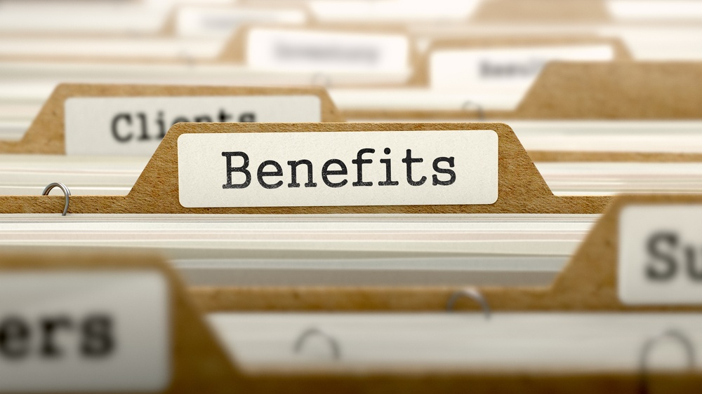 Benefits Concept. Word on Folder Register of Card Index. Selective Focus.